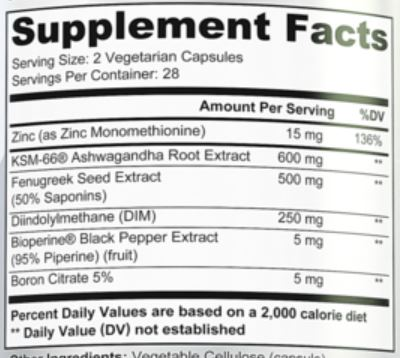 Cutler Nutrition Triumph Ingredients