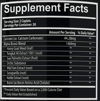 Ingredients for Invictus Labs Alpha Boost