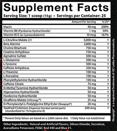 Wild Thing Pre Workout Ingredients