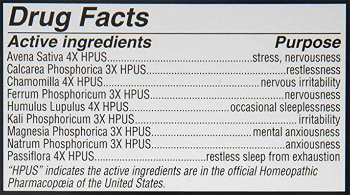 Calms Forte Ingredients