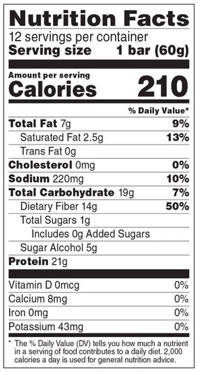 No Cow Bar Nutrition Facts