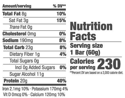 Think Thin Bars Nutrition